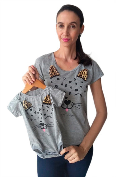 Camiseta T-shirt Adulta Feminina E Body De Bebê Oncinha 2 Pc