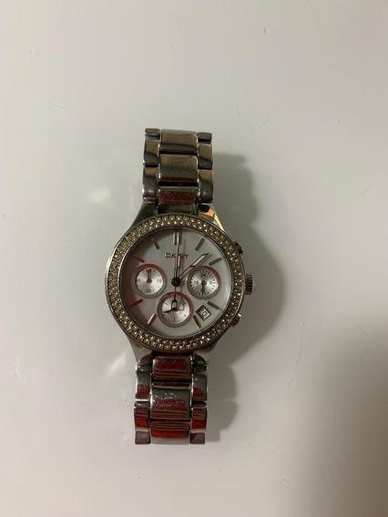Relógio Dkny Prata Com Cristais Ny8057