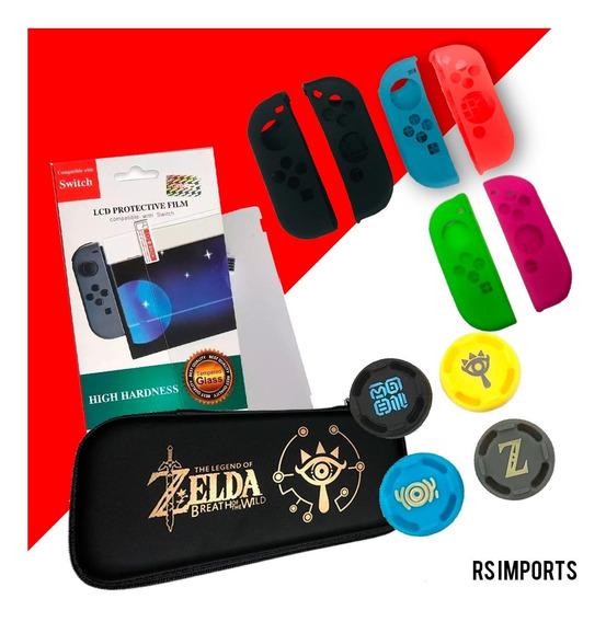 Case Zelda + Película Vidro + 4 Grips + Par Silicone Joy Con