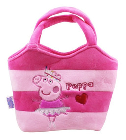 Bolsa De Mão Rosa Pelúcia Peppa Bailarina 22x29cm - Peppa