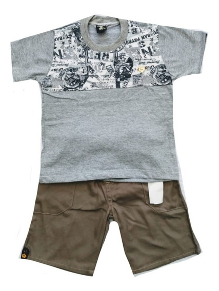 Kit 10 Conjunto Infantil Menino Short E Camiseta Personagens