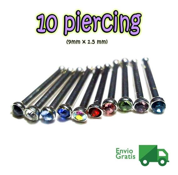 10 Piercing Nariz Varios Colores Lote 9mm X 1.5 Envio Gratis