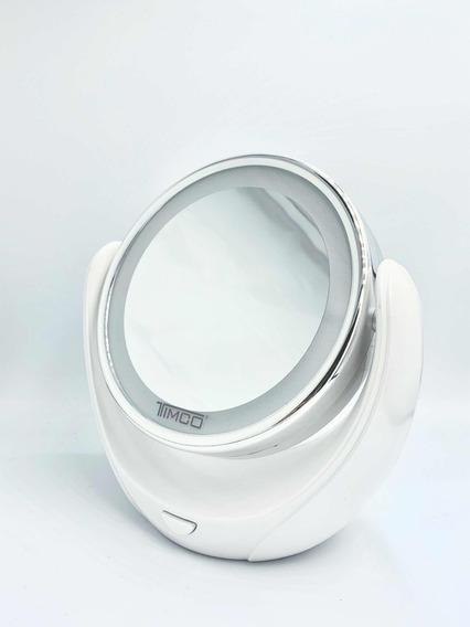 Espejo Giratorio Con Luz 2 Caras Una Con Aumento Timco