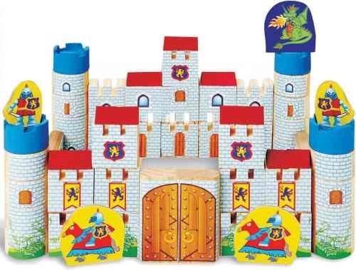 Brinquedo Castelo Encantado Educativo Madeira 64pç + 3 Anos