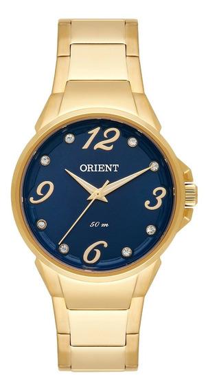 Relogio Feminino Dourado Orient Fundo Azul Com Pedras D2ky