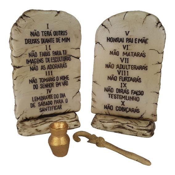 Tábuas Pedra Dos 10 Mandamentos Decorativa Resina