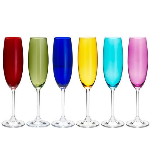 Jogo De Taças Para Champanhe Em Cristal Bohemia Gastro 6 Peças 220ml Colorido