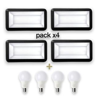 Pack X4 Tortuga Aplique Rectangular Negro E27 + Lámparas Led