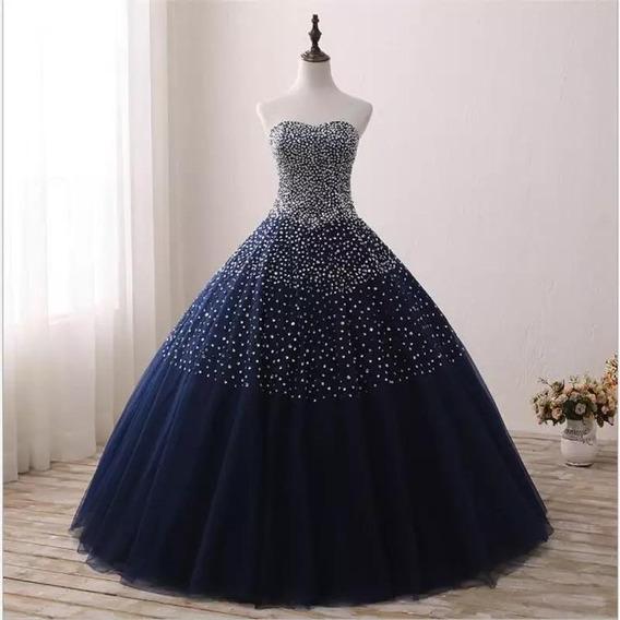 Vestido Xv Años Azul Talla L Oferta ! Piezas Única Con Envío