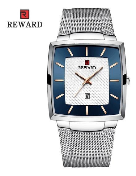 Relógio Masculino Prata Quadrado Com Caixa
