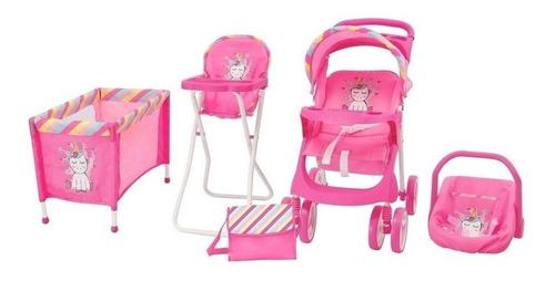 Set De Muñecas Maxi Doll- Baby Kits Corral,coche,sill Comer