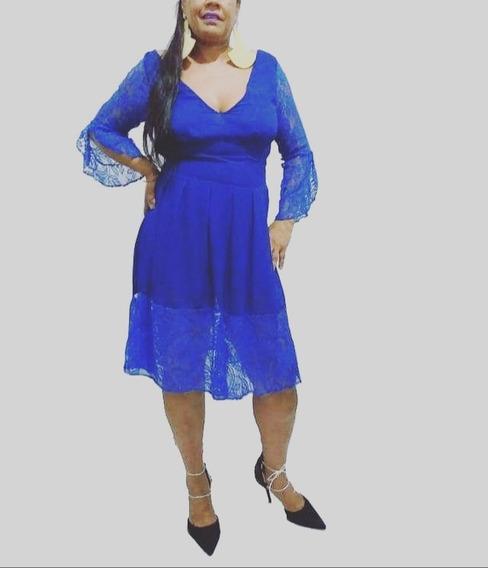 Vestido Plus Size Moda Evangélica Midi Feminino Fest 44 A 48