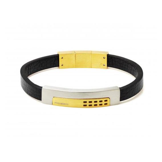 Bracelete Rosso De Couro Preto Placa Gold E Fecho Magnético