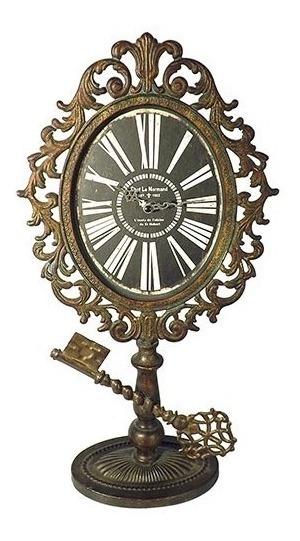 Relógio De Mesa Arabescos Key Base Oldway Metal 52x27 Cm