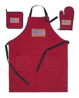 American Flag Usa Apron 2 Pockets, Oven Mitt, Hot Pad Set (b