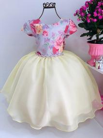 Vestido Princesa Bela Floral Aniversário Luxo Cod. 770