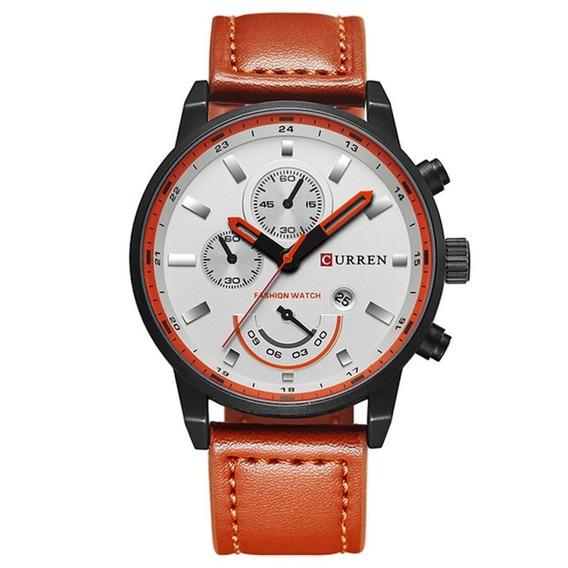 Relógio Masculino Sport Curren Pulseira De Couro Aço Inox