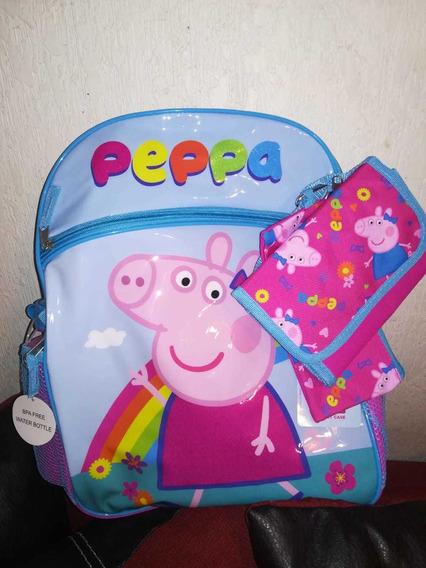 Mochila Peppa Pig Backpack Set 5 Piezas Original