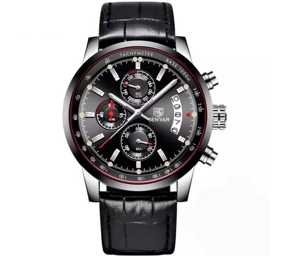 Relógio Masculino Benyar Pulseira Couro Original Estiloso