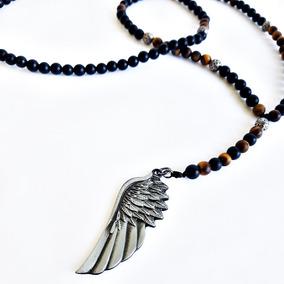 Terço Colar Masculino Pedras Ônix Matte Amuleto Asa Anjo