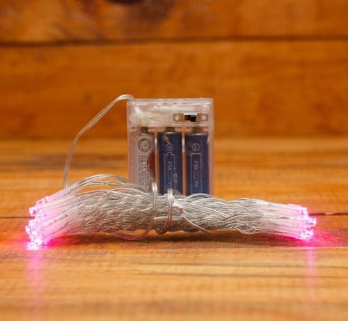Imagen 1 de 3 de Serie Luces Navidad Con 30 Leds 3mt Pilas Luz Rosa