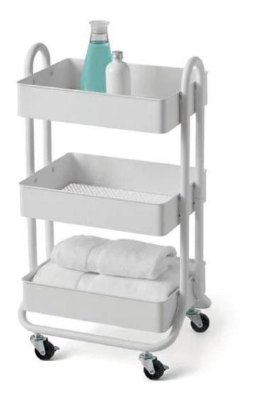 Carrito Organizador Blanco 3 Repisas 45x35x80cm Ruedas Envio
