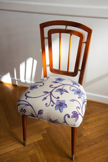 Silla Escandinava Vintage De Flores Azules