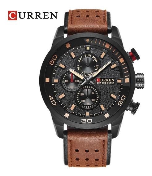 Relógio Masculino Curren 8250 Pulseira De Couro Luxo Top