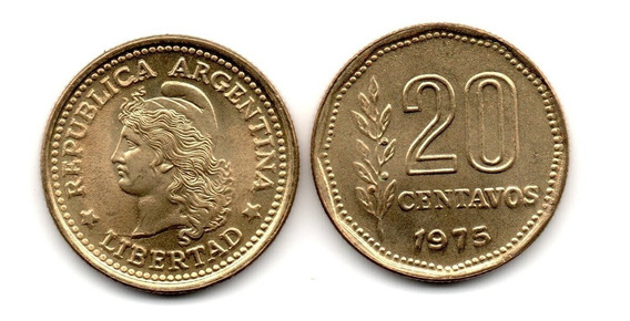 Argentina Moneda 20 Centavos Año 1975 Cj#341.2 Sin Circular