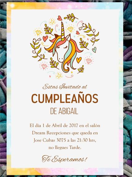 Invitacion Cumpleaños Unicornio Souvenirs Cotillón Y