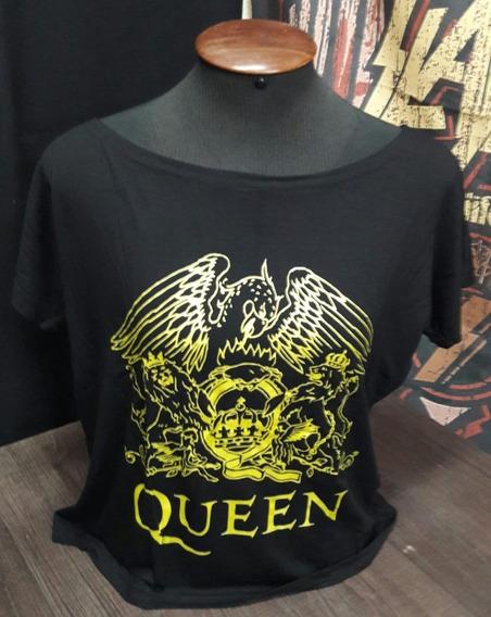 Camiseta Queen Feminina Brasão Canoa Viscose Show Malhas S