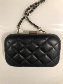 Bolsa Zara, Modelo Clutch, Preta/dourada, Alças De Corrente
