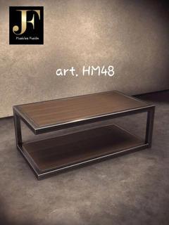 Mesa Ratona De Diseño - Tipo Industrial - Hierro Y Madera