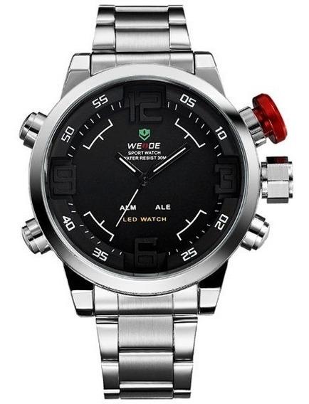 Relógio Masculino Weide Wh-2309 Anadigi Prata Vermelho