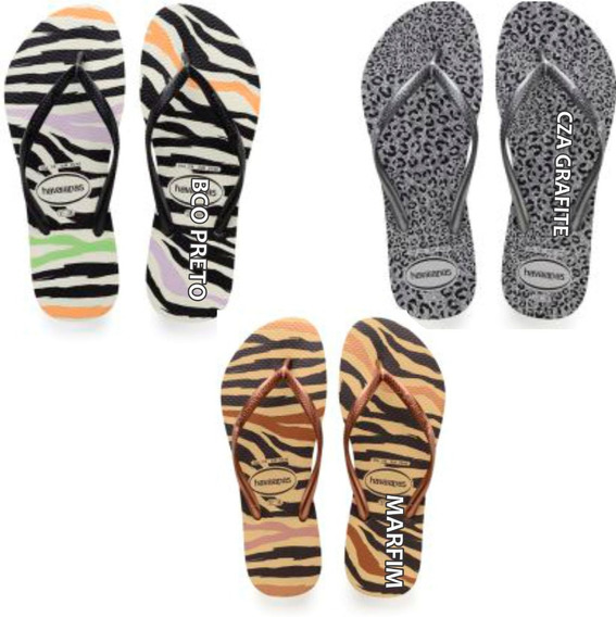 Havaianas Slim Animal Sandalia Cxa 18 Pares Original Chinelo