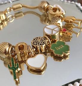 Pulseira Feminina Pandora Berloques Dourado Fecho Coração