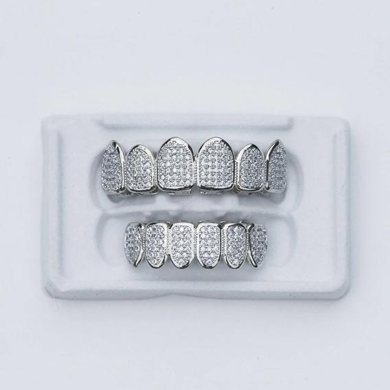 Grillz Grilz Cravejado Trap 6x6 Brilhante Ice Dentes Swag
