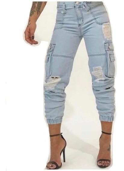 Calça Jeans Feminina Destroyed Street Empina Bumbum