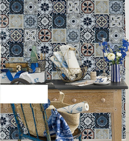 Papel Tapiz Talavera Azulejos Mosaicos Decorativo Vintage