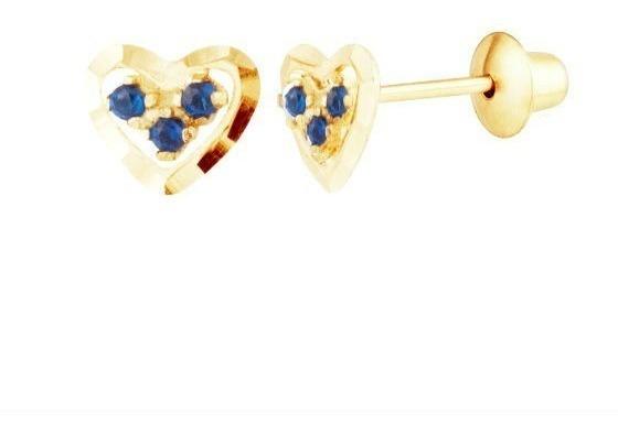 Brinco Coração De Ouro 18k Diamantado E Safiras Azuis G03