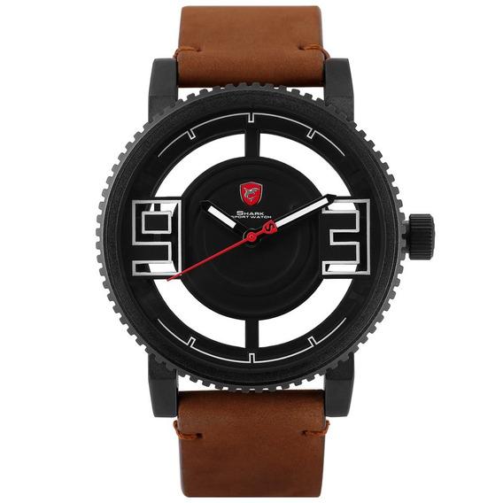 Preto Concha Louco Cavalo Cinto Quartz Relógio Simples Relóg