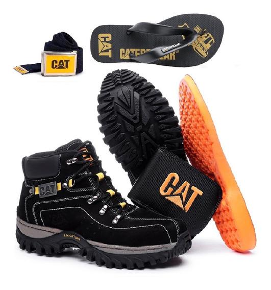 Kit Bota Adventure Caterpillar + Chinelo Cat Carteira Cinto