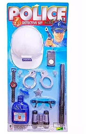 Kit Policial Fantasia Infantil Menino Criança Carnaval