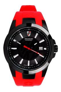 Reloj Swiss Military River Plate Caucho Rojo +envio