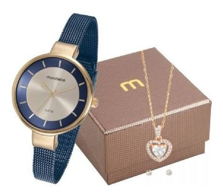 Kit Relógio Feminino Mondaine Azul 76597lpmvle2k1