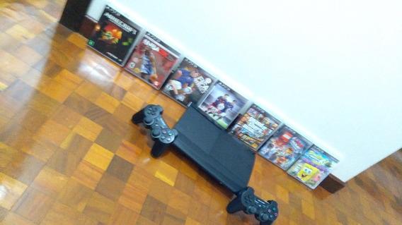 Playstation 3-ps3 Com 2 Controles,7 Jogos,semi-novo