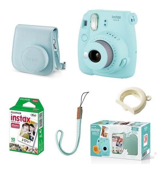 Kit Câmera Instantânea Fujifilm Instax Mini 9 Azul Aqua