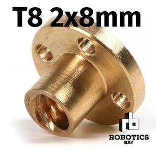 Tuerca Thsl T8 2x8 Bronce Para Varilla Roscada 8mm Acme Cnc