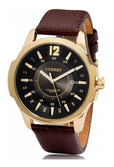 Relógio Masculino Curren Analógico 8123 - Dourado E Preto