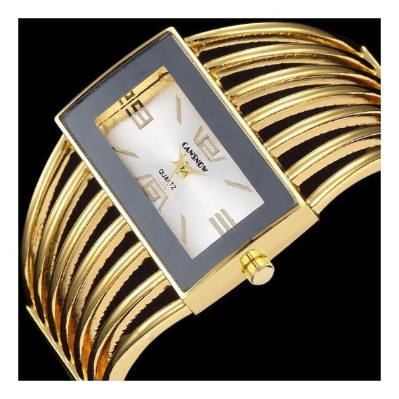 Promoção Relógio Feminino Bracelete Analógico Dourado Barato